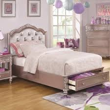 coaster caroline twin size storage bed with diamond tufted