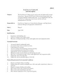 Food Service Resume Job Food Service Job Description Resume