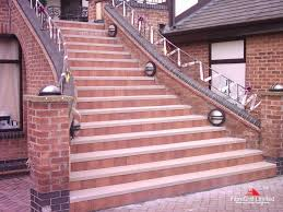 Brick Stairs Design Exterior Cozy Sandstone Stair Treads With Glass Stair Railing For