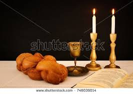 shabbat candles kiddush cup challah stock vector 372018955