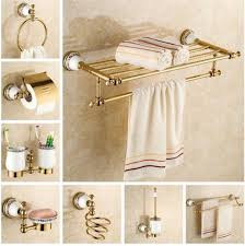 Glass Bathroom Accessories Sets Copper Bathroom Accessories Set Gold Towel Bar Glass Shelf Toilet