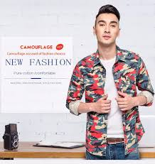 langmeng 100 cotton man casual camouflage shirt men slim fit army