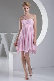 line short mini one shoulder chiffon short pink bridesmaid dresses