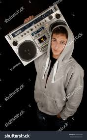 Radio Black Background Funky Man Listening Music On Radio Stock Photo 222702946