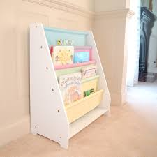 White Sling Bookshelf All 4 Kids White Kids Wooden Canvas Sling Magazine Bookcase