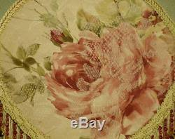 victorian shabby chic lampshade serene pink roses sage silk fabric