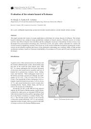 Seismic Risk Map Of The United States by Evaluation Of The Seismic Hazard Of Lebanon Pdf Download Available