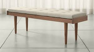 Tate Coffee Table Tate Walnut Slatted Bench With Linen Cushion In Bedroom Benches