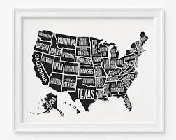 map of us states poster us map poster etsy
