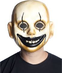 amazon com clown doll face mask plastic creepy smile scary