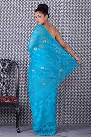 jamdani sharee light blue cotton jamdani saree roopkatha a story of