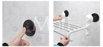 Suction Shelf Bathroom Suction Towel Holder Plastic Towel Rack With Bar And Hooks Wall