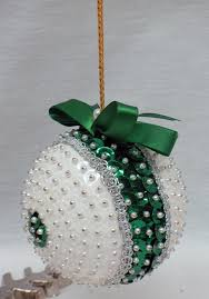 vintage handmade beaded styrofoam ornament white by emztreasurz