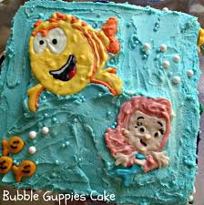 sugar swings serve some bubble guppies cake with cotton candy