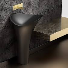 lily modern freestanding bath sink black
