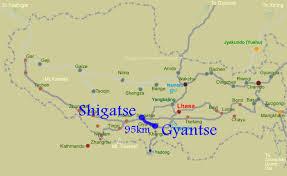 Distance Map Gyantse Maps Maps Of Gyantse Tibet Gyantsetravel Maps