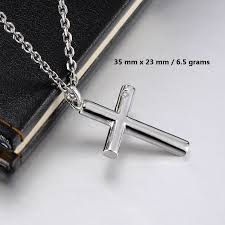 silver necklace with cross images Blue sweet couple necklaces cross necklaces for men and women jpg