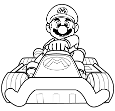mario kart mario driving coloring page 4 kids coloring pages