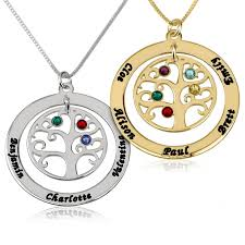 appealing family tree necklace with birthstones gold uk names