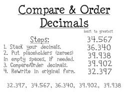 4th grade comparing and ordering decimals worksheets 4th grade