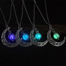stone charm necklace images Josbores fashion shine moon charm luminous stone necklaces for jpg