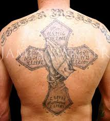 nice name and close hands cross tattoo on back golfian com