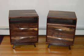 buy a custom made solid walnut danish modern nightstand made to