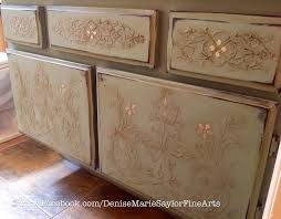 Decoupage Kitchen Cabinets Elegant Stenciled And Painted Furniture Cabinets In Kitchen Or
