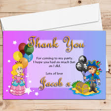 10 personalised pirate and princess birthday party thank you cards