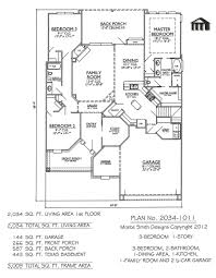 1 Story Floor Plans by Plan No 2034 1011
