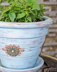 refinishing old flower pots the navage patch