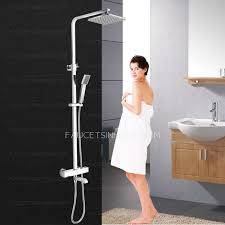 Exposed Outdoor Shower Fixtures - square electroplated brass thermostatic exposed outdoor shower faucet