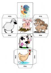 worksheet animals farm animals dice