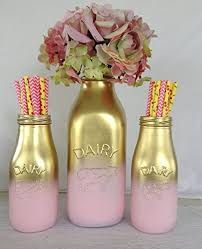 baby bottle centerpieces shabby chic set of 3 pink and gold painted milk