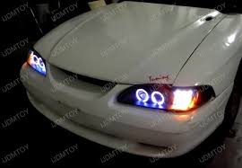 mustang projector headlights 94 98 ford mustang black smoke dual halo projector led headlights