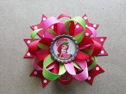 strawberry shortcake ribbon strawberry shortcake hair bow also available for monkey