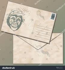 vintage envelope stamp picture monkey post stock vector 398763757