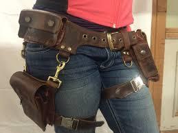 boudicca pocket belt with detachable leg holster burning