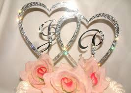 cake topper letters silver or gold heart initials wedding cake topper