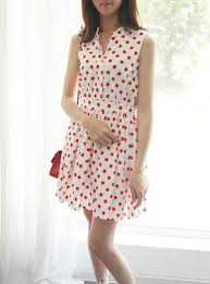 polka dotted mini dress red polka dots on a white background