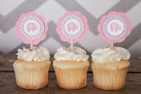 cupcakes for baby shower girl elephant cupcake toppers pink grey cupcake toppers birthday