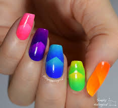 neon chevron scaled gradient skittle nail art by simplynailogical