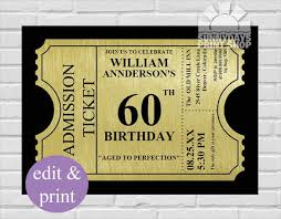 ticket style invitation template 22 60th birthday invitation