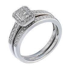 bridal ring sets uk 9ct white gold half carat diamond bridal ring set h samuel the