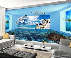 custom 3d stereoscopic wallpaper sea view space living room tv