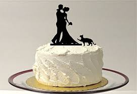 bouquet silhouette wedding cake topper and pet cat
