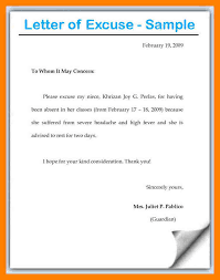 Excuse Letter In 8 excuse letter for absence in school fancy resume