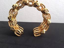 cuff bracelet gold plated images Chanel gold rare vintage season 23 plated crystal cuff bracelet jpg