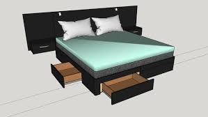 king size bed with storage drawers 3d warehouse