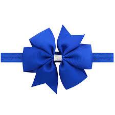 royal blue ribbon 20pcs kids 11cm ribbon hair bows elastic flower